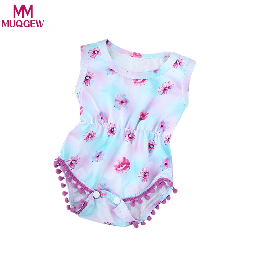 2018 Fashion Floral Newborn Baby Girl Clothes Summer Sleeveless Para Bebe Romper Onepiece Tassels Pompoms Edge Infantil Roupas
