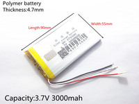 Size 475590 3.7V 3000mah Lithium polymer Battery With Protection Board For MP3 MP4 GPS Digital Products Free Shipping