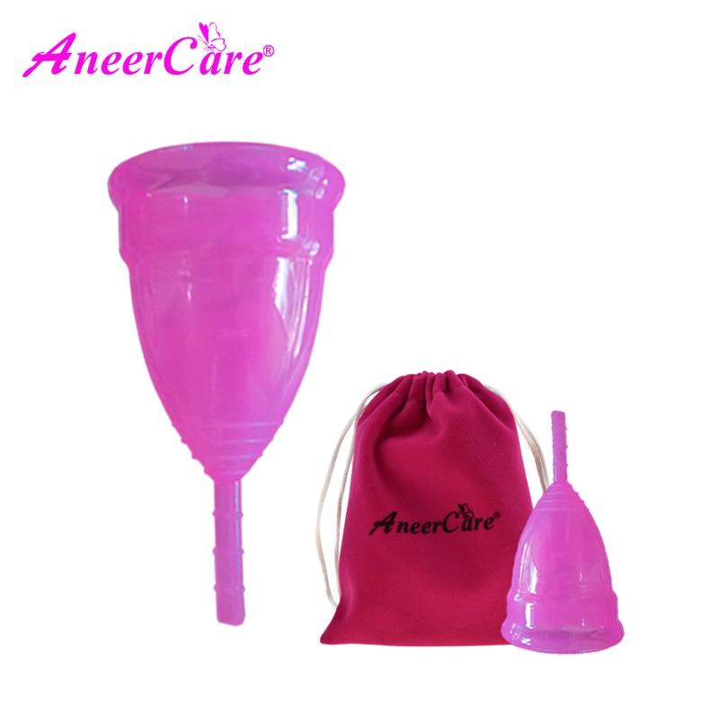 купить 2pcs(S+L) Silicon cup copa lady menstrual cup feminine hygiene vagina care copa menstrual de silicona medica menstruation cup  недорого