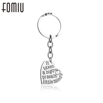 "60PCS/Lot Heart Pendant Keychain Keyring Jewelry""It Take a Big Heart To Teach Little Mind"" Teacher Gifts Wholesale"