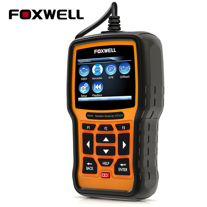 FOXWELL NT510 Full System OBD2 Scanner ABS SRS Airbag EPB Oil Service Reset ODB2 Diagnostic Tool For Benz Automotive Scanner foxwell nt630 elite obd2 automotive scanner abs sas airbag crash data reset auto diagnostic scanner odb2 scanner tool