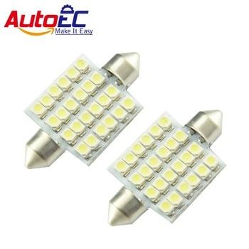 AutoEC 100x Festoon 24 smd 1210 led white light 24 SMD LEDS 3528 1210 SMD Car Led Reading Lamp Interior Dome Light #LK118