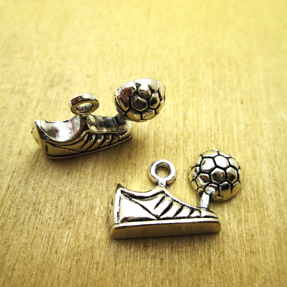 40pcs Soccer Player Charms silver tone Soccer Player charm pendants 23x12mm