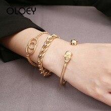OLOEY 2019 Female Punk Bracelets 3pcs/set Alloy Metal Skull Hand Chains Fashion Boho Women's Bracelet Golden Color Party Jewelry недорого
