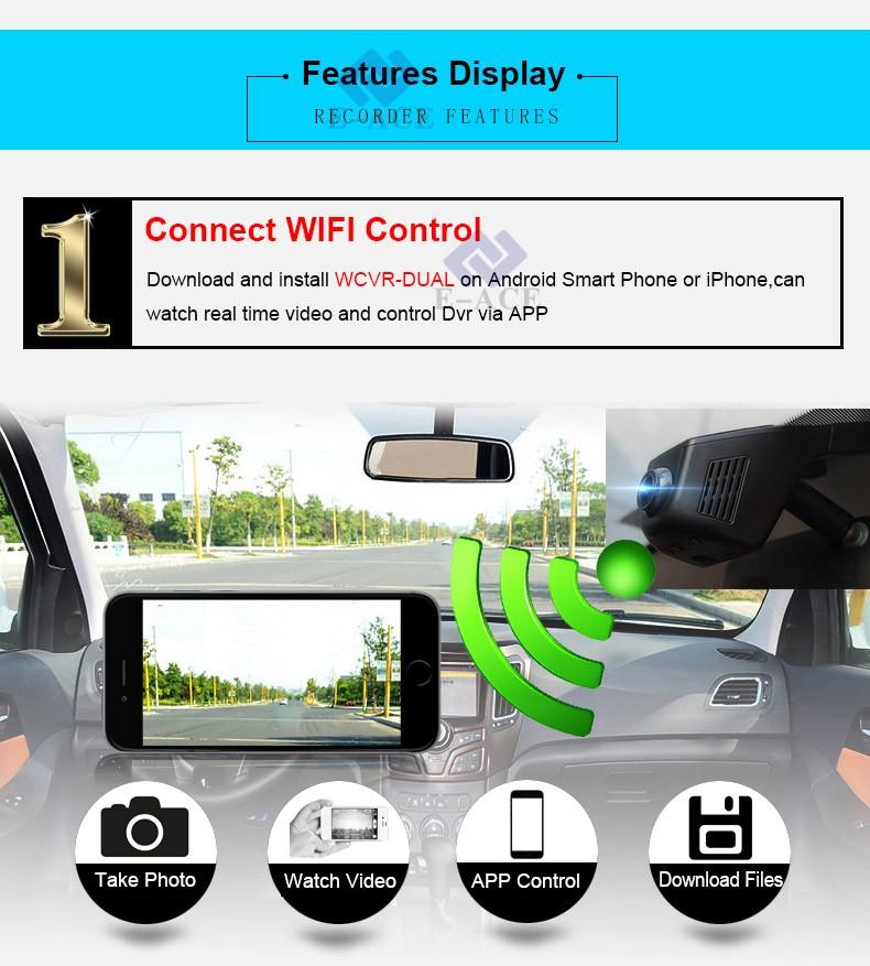 E-ACE Car Dvr WIFI DVRs Dual Camera Lens Registrator Dashcam Digital Video Recorder Camcorder Full HD 1080P 30FPS Night Version 6