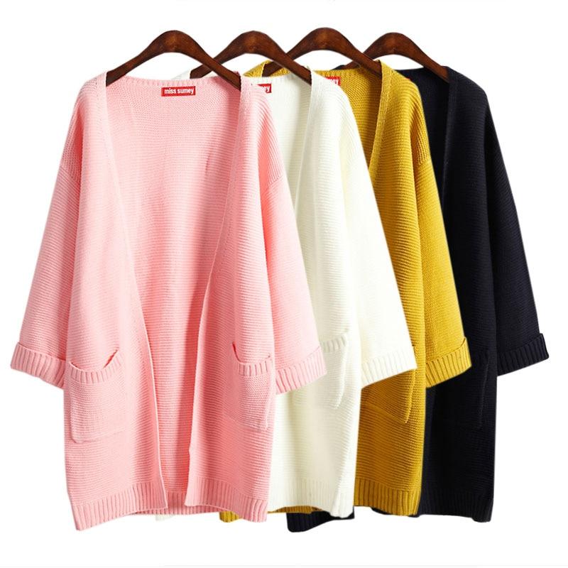 2016 ulzzang Girl Autumn Korean font b Women b font Loose Casual Long Knitted Cardigan Solid