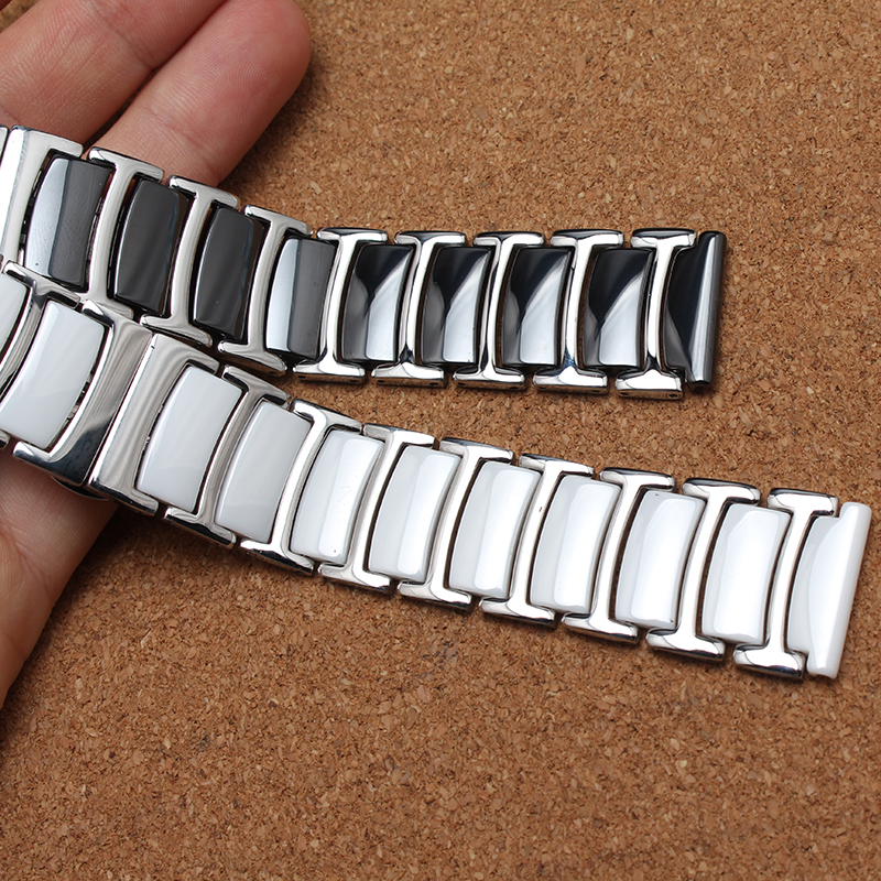 ФОТО New White Black Ceramic with solid links Stainless steel metal  Watchband Strap Bracelets wristwatches band silver 20mm 22mm men