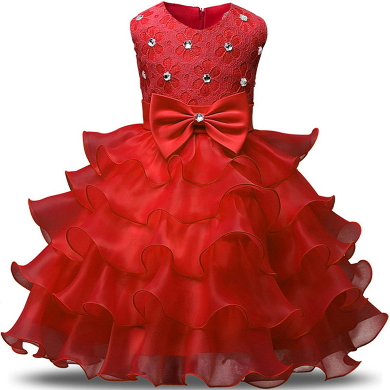 1 8Year Summer Girls Bow Princess Dresses Elegant Tutu Wedding Birthday Party Dress Children Pageant Formal Prom Designs Costume in Dresses from Mother Kids