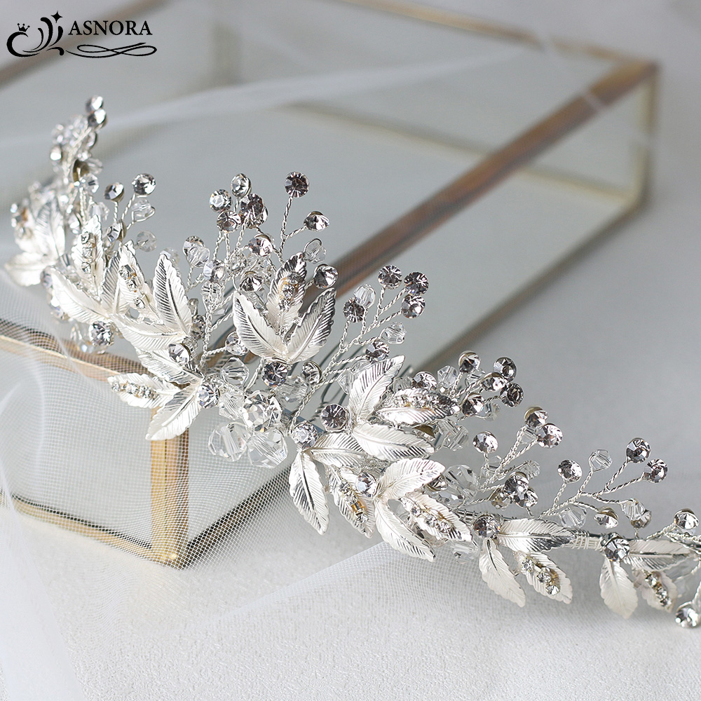 ASNORA Bridal Headbands with Combs Wedding Hair Accessories Headdress for Brides Metal Leaf with Crystals Beads Women Hair Bands-in Hair Jewelry from Jewelry & Accessories