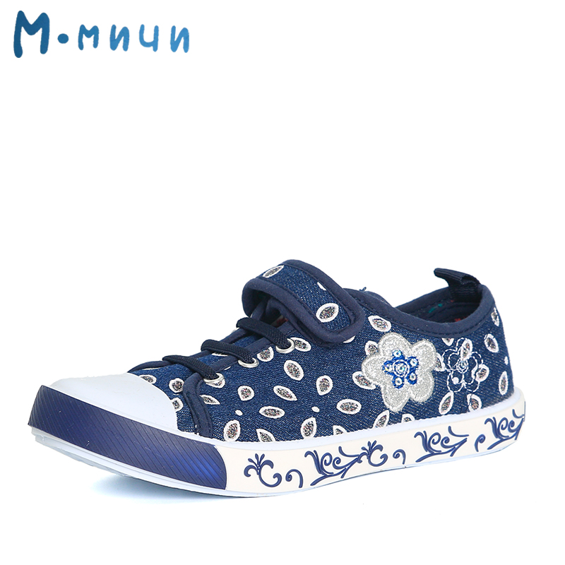 MMNUN 2017 Soft Children Shoes Girls Comfortable Floral Shoes for Girls Big Kids Hook & Loop Flat Causal Sneakers Children Shoes