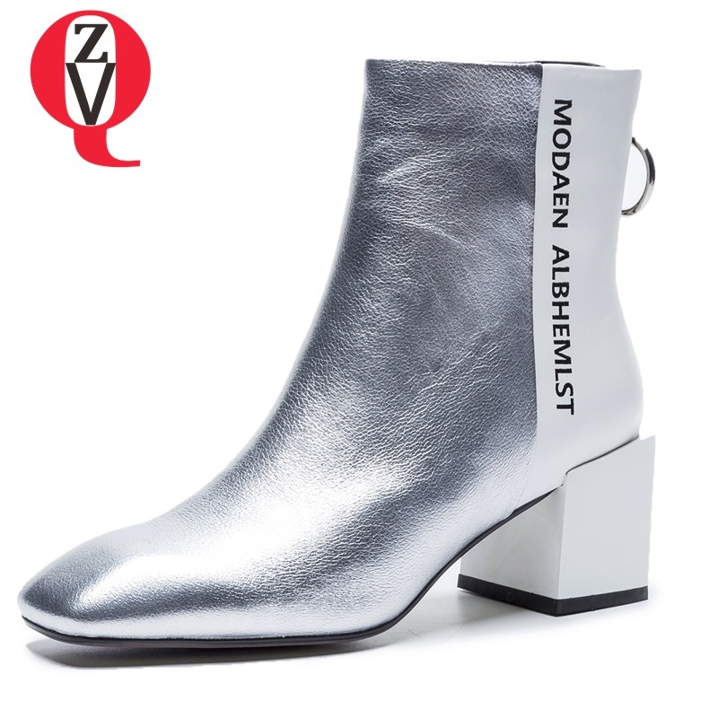 ZVQ hot sale 2018 new fashion square toe high square heel zip mixed colors genuine leather ankle boots winter warm women shoes zvq 2018 winter hot sale new fashion square toe zipper high square heel genuine leather women ankle boots outside warm shoes