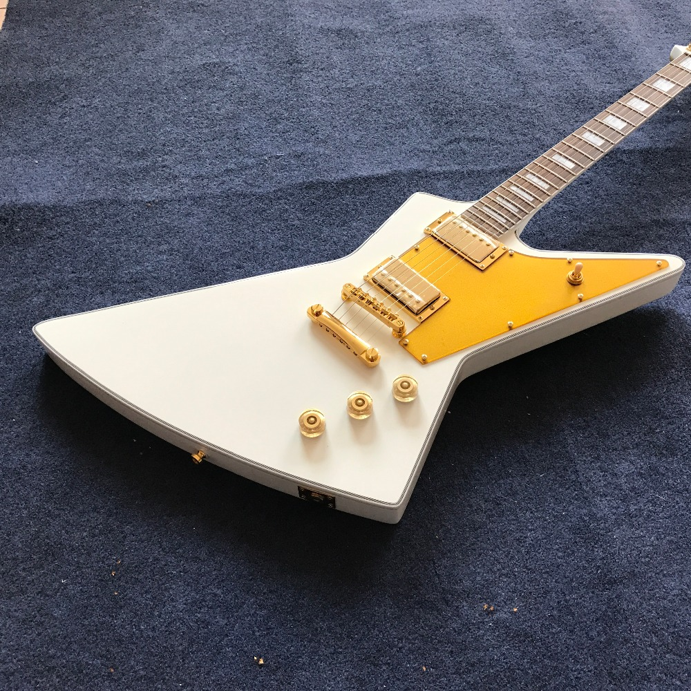 new arrival Custom shop White Explorer shape Electric Guitar , gold color hardware, hot selling guitarra new style custom sg electric guitar 3 pickups gold hardware sg electric guitar with gold tremolo system free shipping