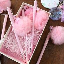 Cute Flamingo Warm Ball Plush Pendant Gel Pen Ink Pen Stationery love face rabbit ear warm ball plush gel pen ink pen promotional gift stationery school