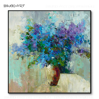Beautiful Wall Art Hand painted Vase Flower Oil Painting on Canvas Beautiful Abstract Vase Flower Picture Blue Flower Painting