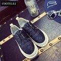 Plus Size Casual Lace Up Zapatos Planos de Las Mujeres de Moda de Punto diseñador Negro Oxford Zapatos Para Mujeres de Los Planos de Cuero Para Niñas 35-40