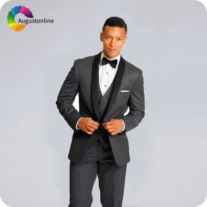 Custom Made Italian Black Men Suits for Wedding Peaked Lapel White Vest Slim Fit Groom Tuxedos Costume 3Piece Best Man Blazers in Suits from Men 39 s Clothing