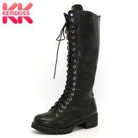Brand New Designer Womens Square Low Heel Riding Motorcycle Heel Knee High Boots Punk Gothic Platform