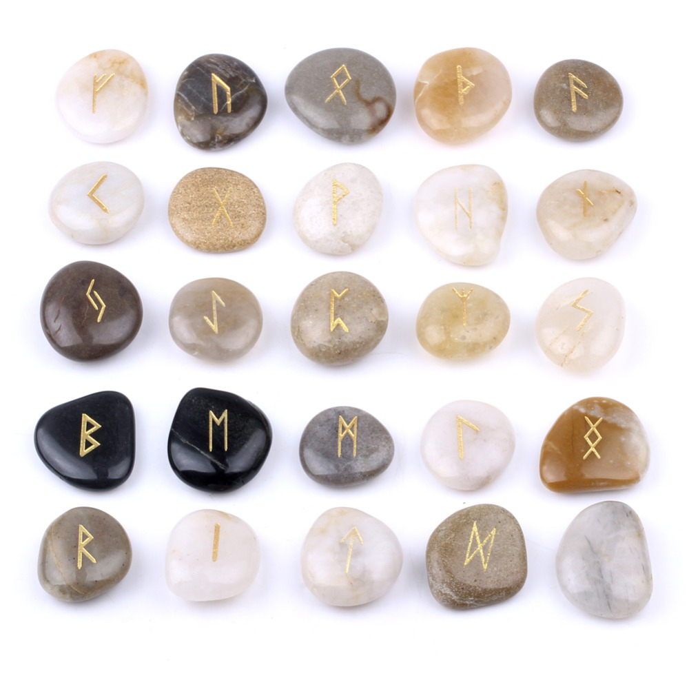 Natural Engraved Chakra River Stones Rune Stones Set Gemstones Craft Feng Shui Decoration 25pcs Set with Velvet Bag RN003 ...