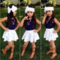 Blue Girls Clothing Sets 2piece/lot Tank Tops And Skirt Fashin Style Kids Summer Best Clothes Sets D04X14