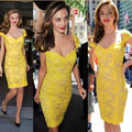 Cap Sleeve Charming 2016 New Summer Sexy Sheath Yellow Knee-Length Lace Sheath Cocktail Dresses Party Dress robe de cocktail