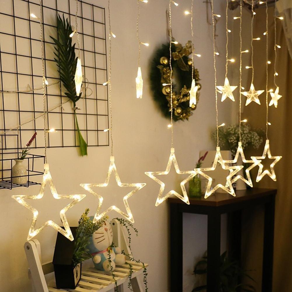 2,5 M de Navidad luces LED AC 220 V de hadas romántico LED estrella cortina de la secuencia de tira de iluminación de vacaciones boda fiesta decoración