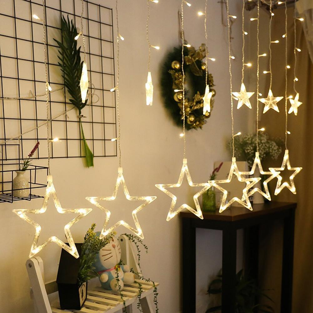 2,5 mt Weihnachten Led-leuchten AC 220 v Romantische Fee Stern LED Vorhang String Beleuchtung Für Urlaub Hochzeit Girlande Party dekoration