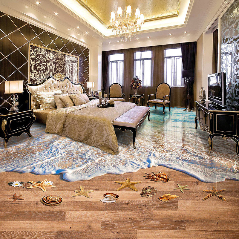 Custom Modern Simple Beach Wood Board 3D Floor Tiles Mural Wallpaper PVC Vinyl Waterproof Self-Adhesive 3D Flooring Wall Papers custom floor wallpaper beach shells and starfish bathroom floor mural paintings self adhesive waterproof wall papers home decor