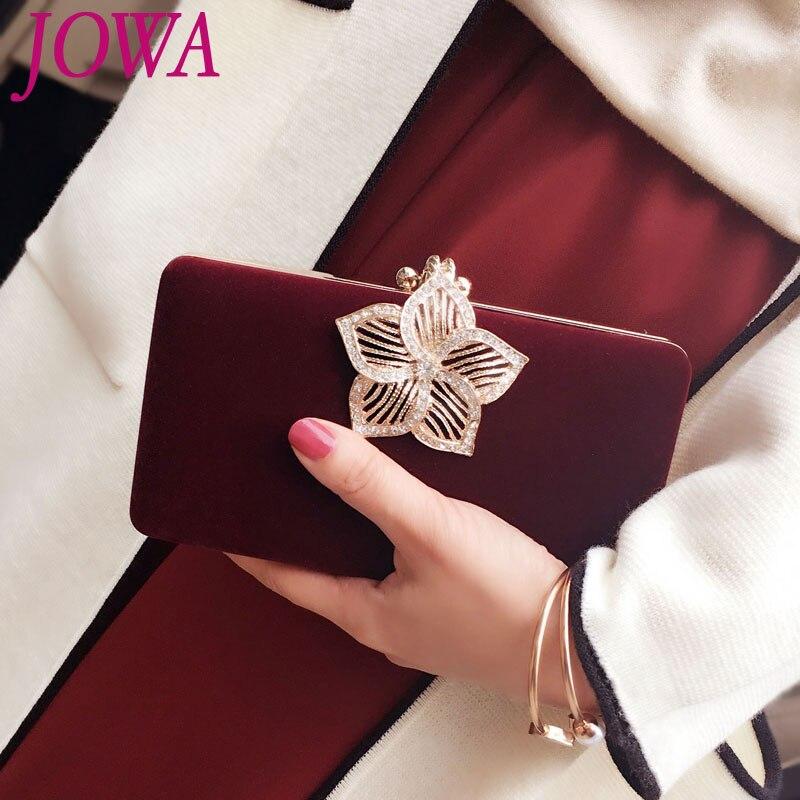 2019 New Design Evening Bags Women's Mini Handbag Vintage Diamonds Hollow Out Flower Clutches Wedding Party Bride Purse Packages