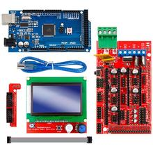Mega 2560 R3 Mega2560 Rev3 +Ramps 1.4 Controller +Ramps1.4 Lcd 12864 Lcd For 3D Printer Kit 1pcs mega 2560 r3 1pcs ramps 1 4 controller 5pcs drv8825 stepper driver module 1pcs lcd 2004 1pcs mk2b for 3d printer kit
