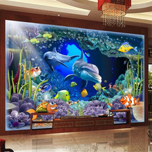 beibehang Custom Photo Wallpaper Mural 3D Stereo Underwater World Dolphin Mother and Child Love Deep wallpaper papel de parede