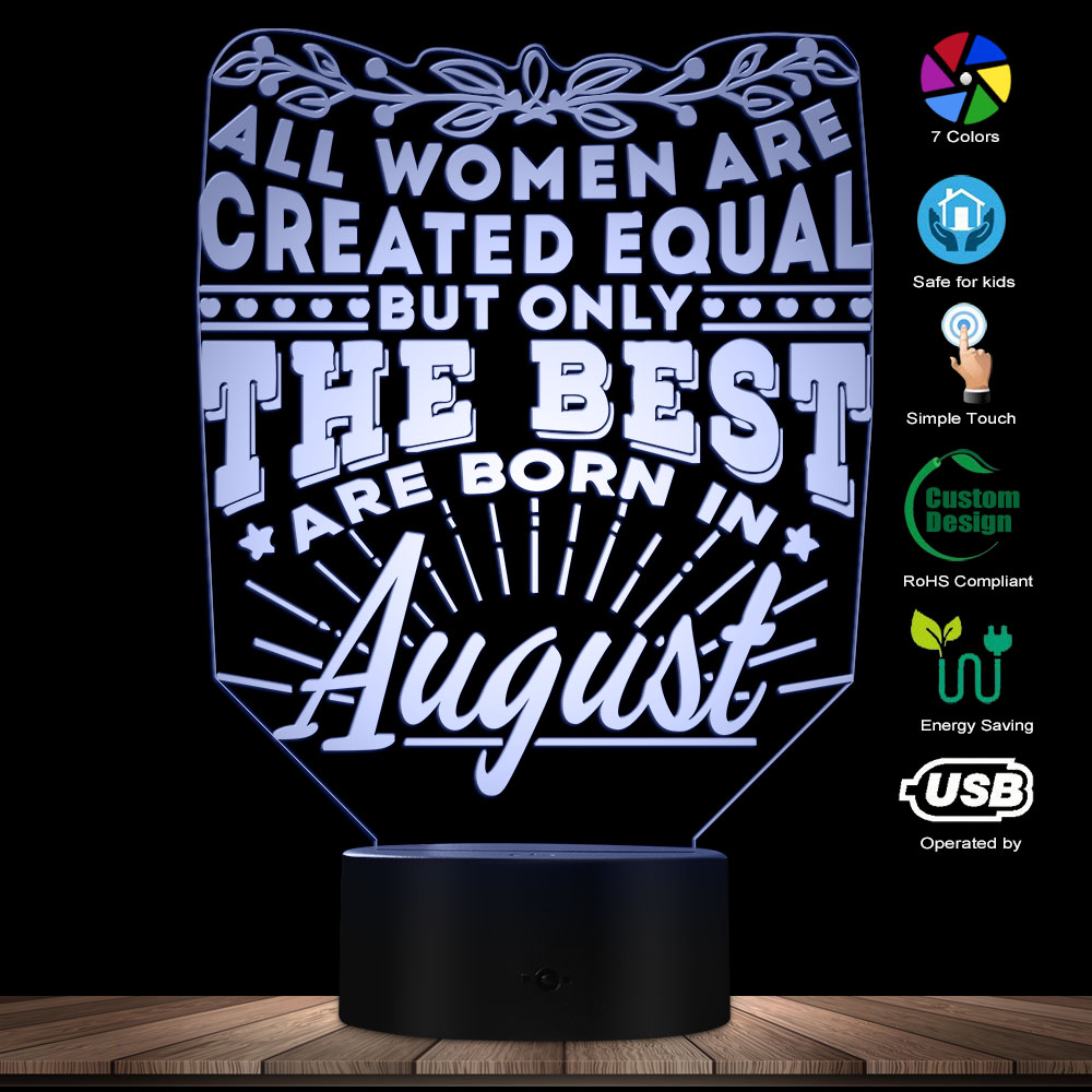 Letters LED Novelty Night Lamp Home Decor The Best Women Born In August 3D Optical Illusion USB Light Birdthday Gifts For Women