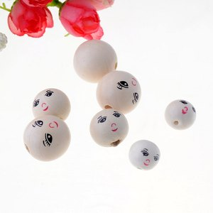 20pcs Smiling Face Wooden Bead