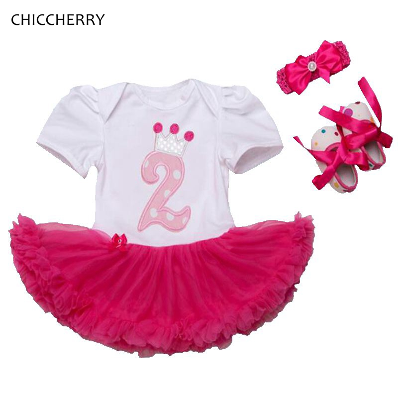 Crown Princess 2 Years Baby Birthday Dress 3pcs Infant Lace Tutu Headband Crib Shoes Set Vestido De Bebe Toddler Girl Clothes