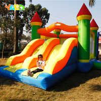 Corrediças infláveis do dobro do obstáculo do trampolim do castelo da casa do salto 6.5*4.5*3.8 m do pvc jogos infláveis bouncy casa presente de natal