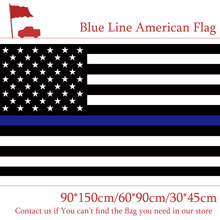 Free shipping 90*150cm 60*90cm Blue Line Stripes American Flags 2 Grommets For Police Cops Flags Black, White Blue Flying Flags page flags green 50 flags dispenser 2 dispensers pack page 4