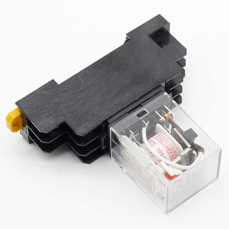 1 adet MY2P HH52P MY2NJ röle 220V AC bobin yüksek kaliteli genel amaçlı DPDT mikro mini röle soket ile baz tutucu