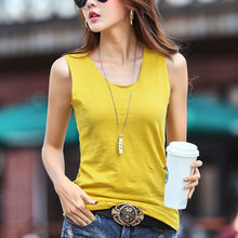 New Womens Tanks Summer 2019 Casual Solid Color O-Neck Sleeveless All-match Slim Tees Tops