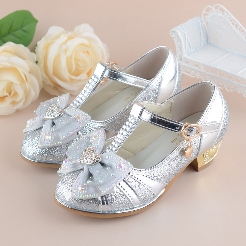 Girls Princess Shoes 2017 New Spring Summer Bowknot Kids Wedding Sandals For Children Party Shoe High-heeled Size 27~37
