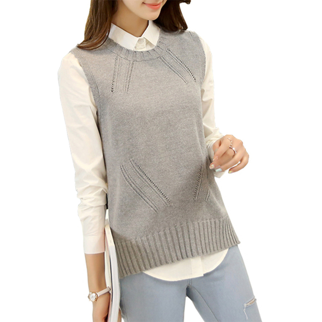 2016 Весна Свободной Женщины Жилет Шею Куртка Трикотажные Рукавов Свитера Пуловеры для Женщин