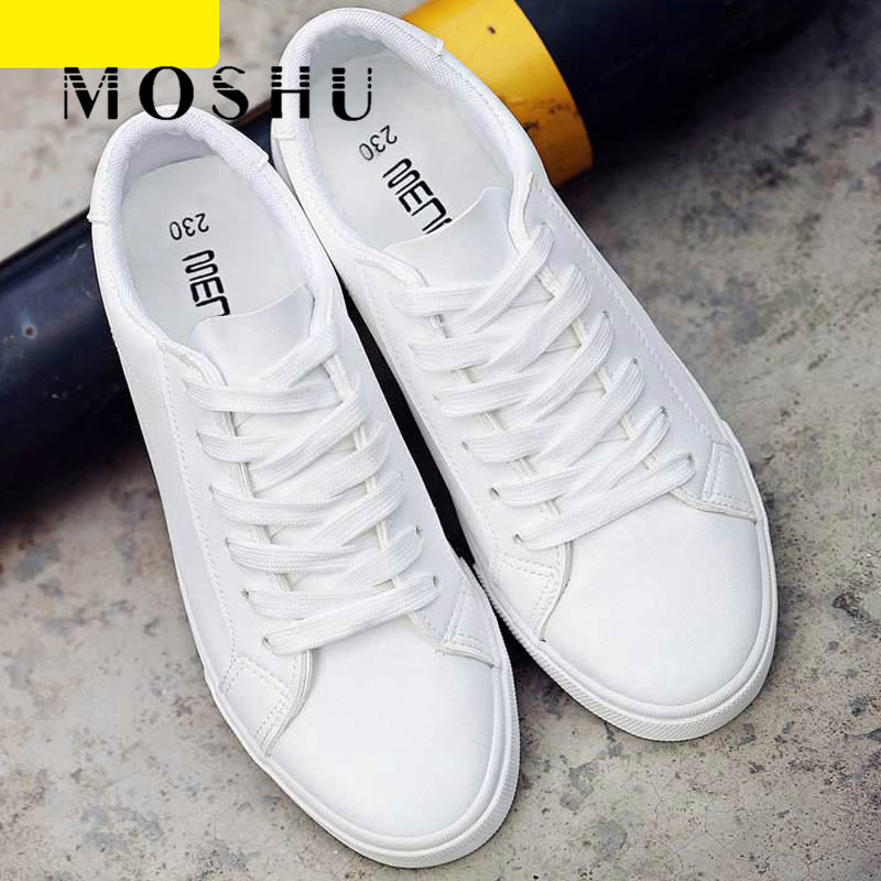 Women White Sneakers Tenis Feminino PU Leather Vulcanized Shoes Ladies Trainers Casual Flats Lace-Up Zapatillas Mujer