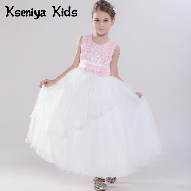 Kseniya Kids Summer Children's Pink Princess Style Long Dress Flower Girl Wedding Dress Kids Dresses For Girls Flower Dresses new summer girls dress fashion kids dresses for girl pink flower unicorn party wedding princess teenager baby girls luxury dress