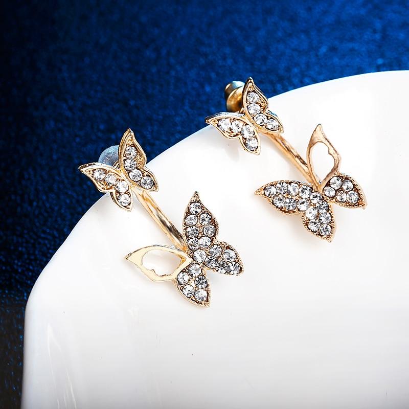 E0169 Beautiful Butterfly Stud Earrings Shiny Full Rhinestones Butterflies Earrings For Women Girls Statement Ear Jewelry Gift