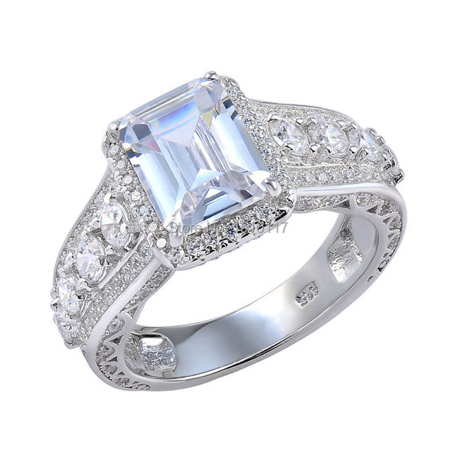 3.24 Carats CZ 925 Sterling Silver Wedding Bands Engagement Ring for Women Free Shipping