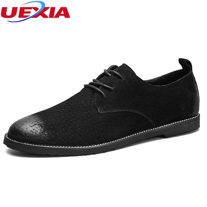 UEXIA Men Shoes Autumn Fashion Comfortable Top Quality Male Casual Shoes Flats Formal Business Dress Breathable Spring Oxfords spring autumn fashion men high top shoes genuine leather breathable casual shoes male loafers youth sneakers flats 3a