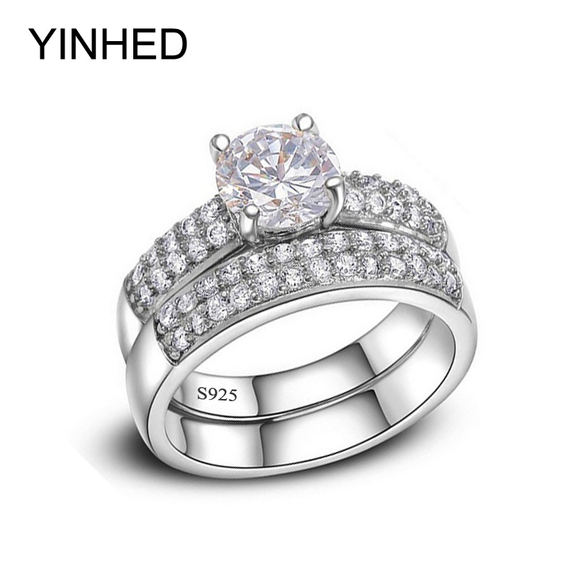 yinhed women wedding band ring set 100 solid 925 sterling silver ring 2 carat cz diamant engagement ring bridal jewelry zr231 - Cheap Wedding Rings Under 100
