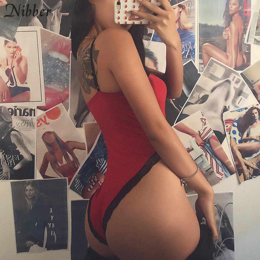 Nibber Весна Новый сексуальный кружевной бант Красный боди 2019 модный камвольный пэчворк с высокой талией эластичный тонкий мягкий комбинезон женский Дикий
