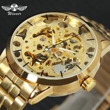 e448050caf3 VENCEDOR Luxo Skeleton Retro Vestido Mecânico Automático dos homens Relógio  de Pulso Relógios Homem Cinta Marca