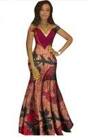 Африканский Костюмы Бросился Продвижение 2017 Африканский Платья для женщин для Для женщин Мода Дизайн Базен Riche v-образным вырезом длинное п...