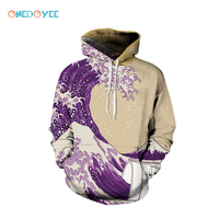 Onedoyee Skateboard Hoodies Men Women Loose Hooded Sweater Couples Dress Baseball Uniform Male Female 3D Print Wave Art Pattern