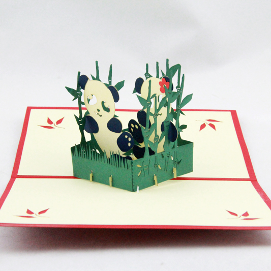 Panda with bamboos /3D pop up greeting card/ handmade animal card  Free shipping creative gifts 3d pop up card greeting